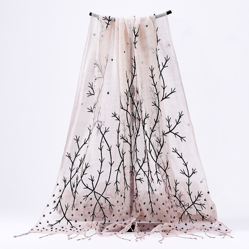 high quality Bohemia handmade pink Branch embroidery beaded sequins wool silk scarf Shawl size 60 180cm
