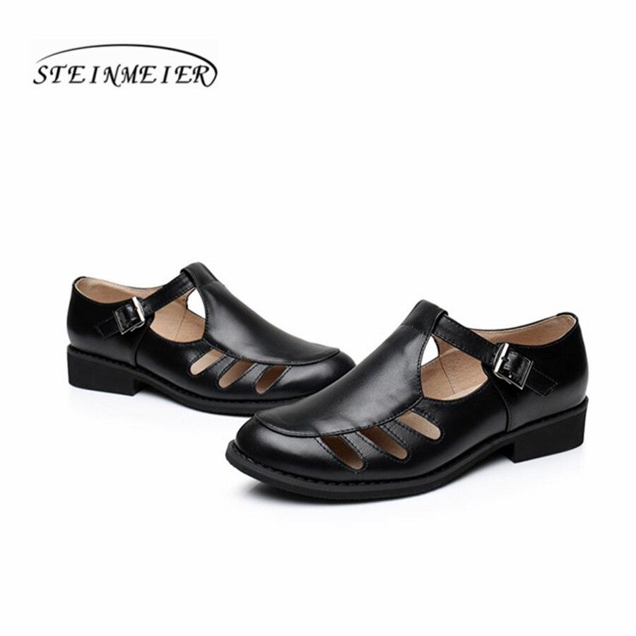 Weiß Handgemachte Schuhe Leder Oxford other Flache Sommer Color Schwarz Sandalen White Für Vintage black 2018 Frauen Echtes Y18gqwW