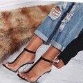 Los Clásicos de las mujeres transparente Sexy sandalias peep toe T-correa de tacones altos zapatos de vestido de boda del partido de Cristal sandalias tamaño woamn 35-40