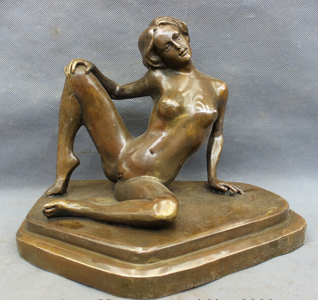 wholesale factory 10 Chinese brass Copper Carved Nude Sexy Woman Belle Beauty Statue Sculpture