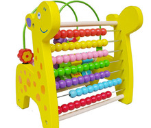 New wooden toy Multifunction deer around beads flap computing rack Free shipping