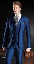 2017 Newest Coat Pant Designs Navy Blue Italian Fits Stain Customized Notched Lapel Promenade Gown Blaze three Items Tuxedo Terno F