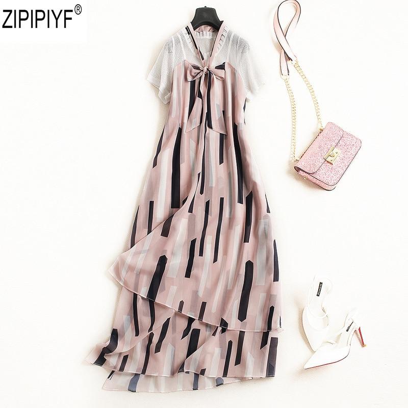 2018 New Summer Women Chiffon Dress Female Office Lady Bow Collar Short Sleeve Print High Waits Slim Ankle-Length Dress C1527 tom waits tom waits bad as me