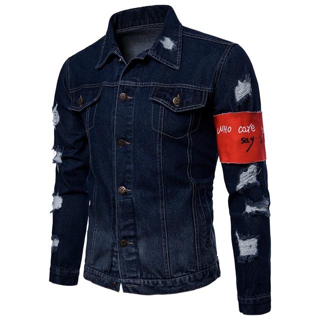 2018 autumn Men's Casual jeans jackets Holes decoration Outwear Cotton cloth solid color Men fashion Jacket Coat large size 3XL