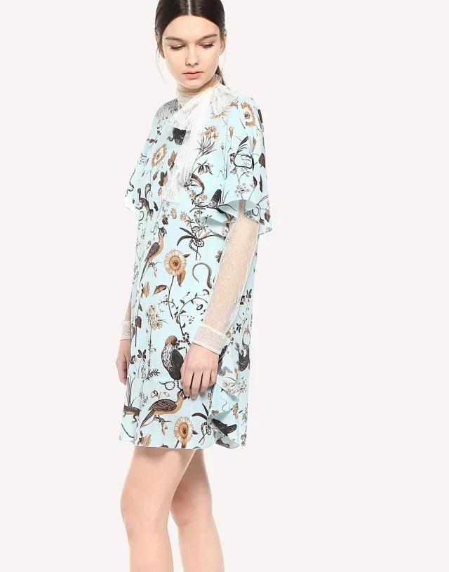 Women Dress 2018 New Printed Back Bow Short Sleeve Dress