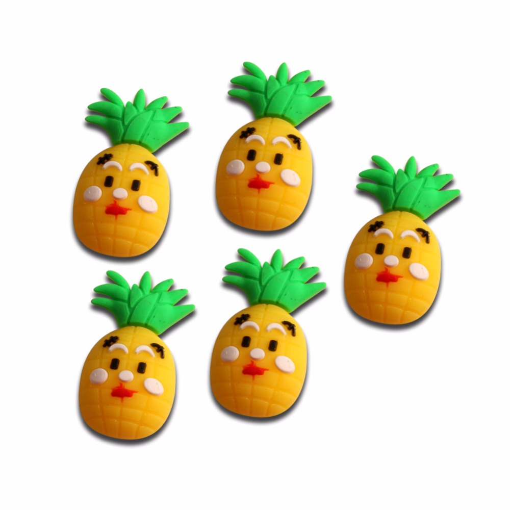 20Pcs Yellow Silicon Pineapple Decoration Crafts Kawaii Cute Flatback Cabochon Embellishments For Scrapbooking DIY Accessories