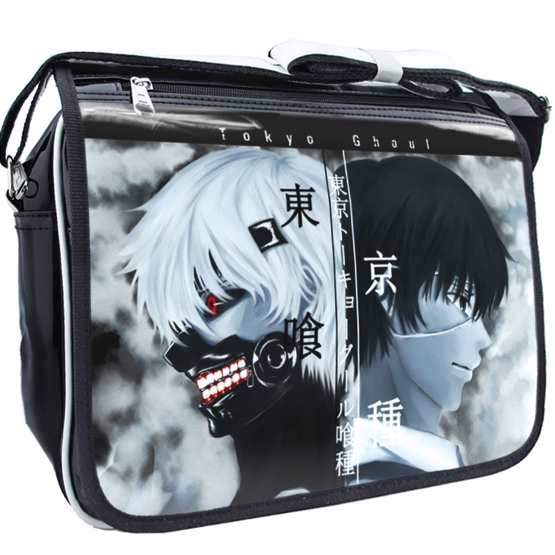 Tokyo Ghoul Cosplay Japanese Anime Student Shoulder Bag Adjustable PU Casual Zipper Crossbody Messenger Bags School Bolsos Mujer anime tokyo ghoul dark in light luminous satchel backpack schoolbag shoulder bag boys gilrs cosplay gifts