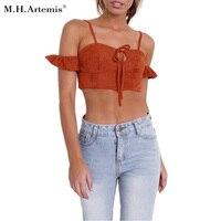 M H Artemis Ruffles Suede Camisole Crop Top Boho Chic Cold Shoulder Bodycon Top Camis Summer