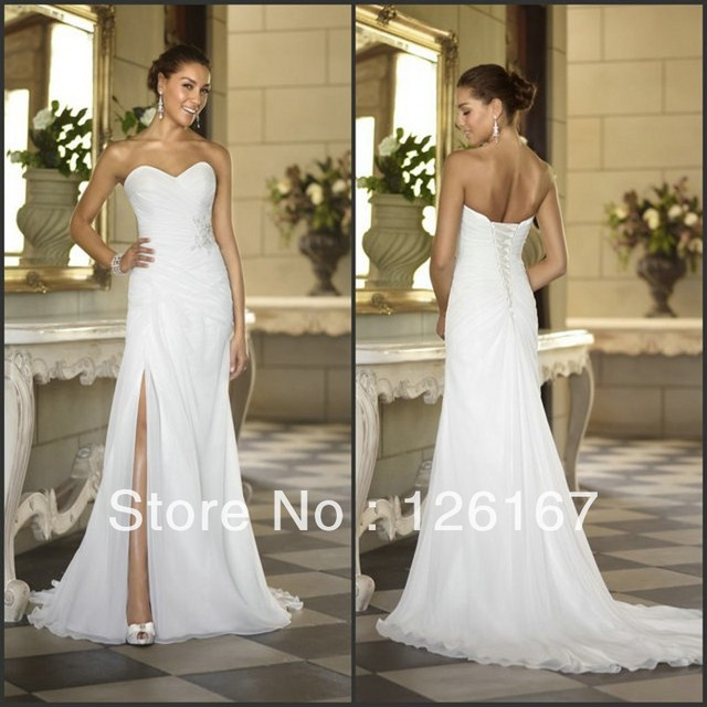 Vintage Beach Wedding Dresses Slit Side Sexy Bridal Gowns Casual Off Shoulder Side Slit Lace Applique Bride Gown Vintage Plus