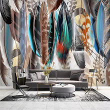 Hand-painted colored feathers background wall professional production mural factory wholesale wallpaper mural poster photo wall hand painted color oil painting background wall professional production mural factory wholesale wallpaper poster photo wall