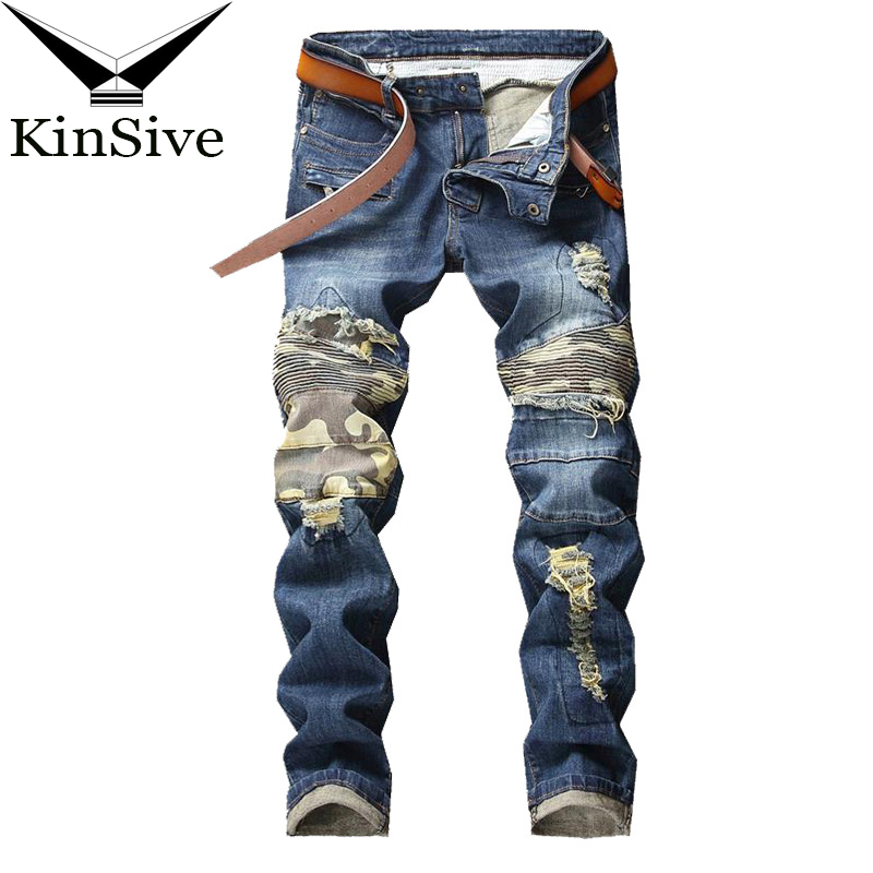 2018 Mens Streetwear Straight   Jean   Pants Knee Camouflage Stitching Distressed Denim Biker Hip Hop Washed Ripped   Jeans   Plus Size