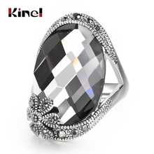 Kinel Brand Design Vintage Flower Big Gray Crystal Rings For Women Antique Silver Fashion Jewelry