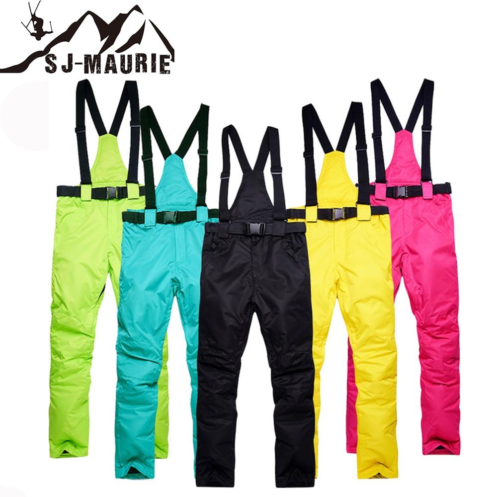 Sj-maurie pantalon de Ski polaire chaud imperméable pantalon de Sports de plein air d'hiver pantalon de Ski S-3XL pantalon de Snowboard solide grande taille