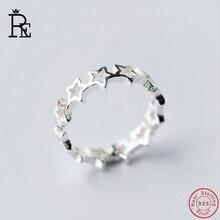 RE 100% Real S925 Sterling Silver Ring Resizable Stars Wedding Engagement Finger Knuckle Rings for Women Female