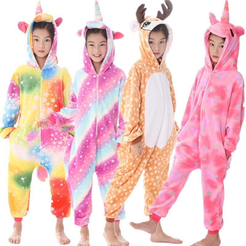 Flannel Animal Kids Pajamas Set Boys Girls Hooded Unicorn Deer Pegasus Cosplay Pyjamas Winter Soft Children Sleepwear Onesie