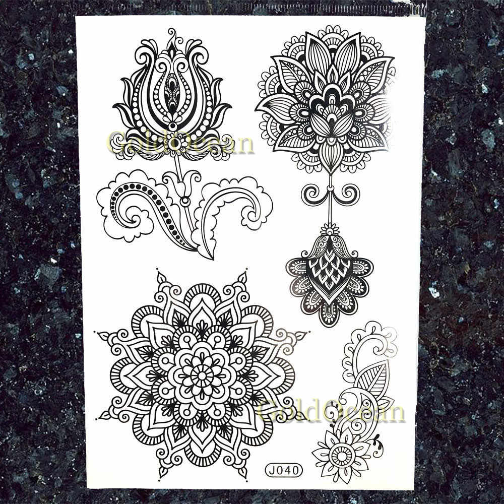 Goldocean Fashion Feather Pendants Mandala Flower Tattoos Stickers Black Lace India Tattoo Temporary Rose Women Girls Tatoos Diy