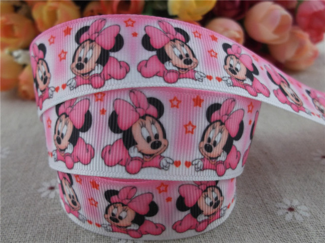 new arrival 1'' (25mm) cartoon printed grosgrain ribbon pink ribbon hairbow ribbon 10 yards tape
