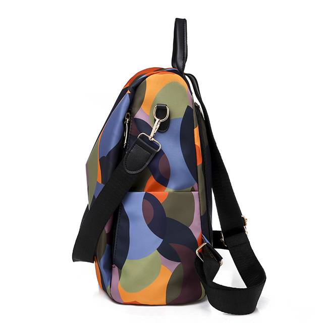 High Quality Waterproof Oxford Women Backpack Fashion Colored circles 4