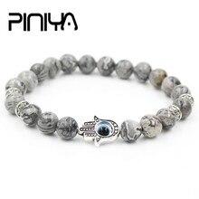 Antique Silver Color Hand of Fatima Hamsa Charm Bracelet Mala Marble Stone Bead Evil Eye Elastic Bracelet for Men & Women Gift