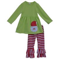 2016 Winter Baby Clothes Santa Pattern Shirt and Ruffle Striped Pants Kids Christmas Outfits Boutique Girl Clothing Sets C010