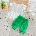 2016 летних девочек установить белый цвет хлопок дети топ костюмы майка + свободного покроя шаровары бутик короткая девочка одежда