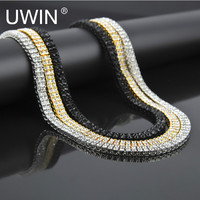 25e9f720ee21 UWIN Men S Gold Plated Necklace Chain Zinc Alloy 2 Row Clear Crystal 30  Inch 7mm