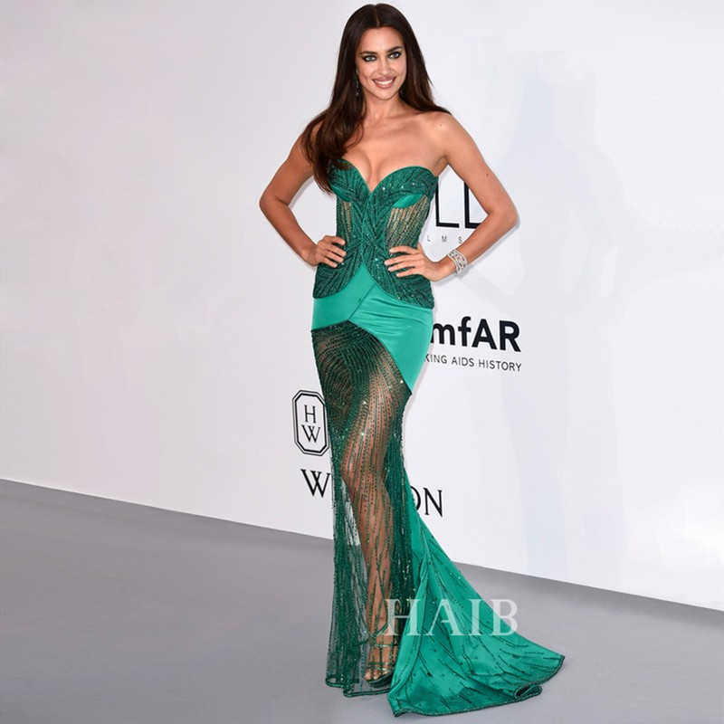 Gorgeous Sweetheart See Through Crystal Beaded Mermaid Prom Gown Sweep Train Evening Dresses For Wedding Party Custom Made