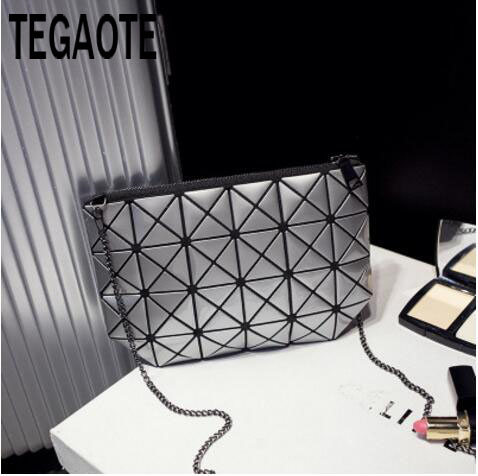 Women Plaid Laser Bag Geometric Shoulder Bags Casual Mini Clutch Bao Bao Makeup