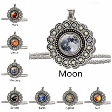 Solar System Moon Earth Mars Jupiter Planet Necklace Silver Chain Glass Cabochon Flower Pendant Outer Space Jewelry