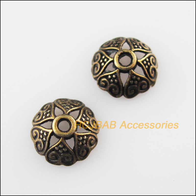 80Pcs Antiqued Brons Kleur Bloem Hart Spacer Kralen End Caps 8 Mm