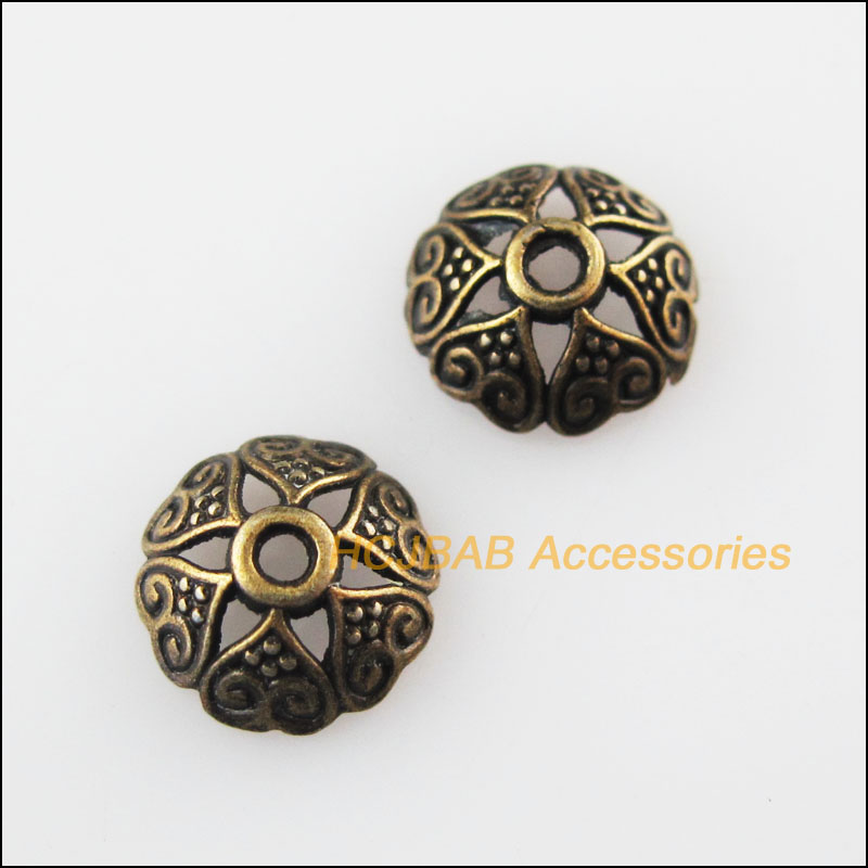 9.5mm 18Pcs Tibetan Silver Tone Flower Spacer Beads End Caps Charms 8.5mm