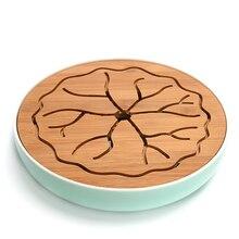Keramik Bambus Tee-tablett Runde Entwässerung Wasserspeicher Kung Fu tee-Set Zimmer Bord Tisch Eleganz Chinesischen Teezeremonie Werkzeuge geschenk