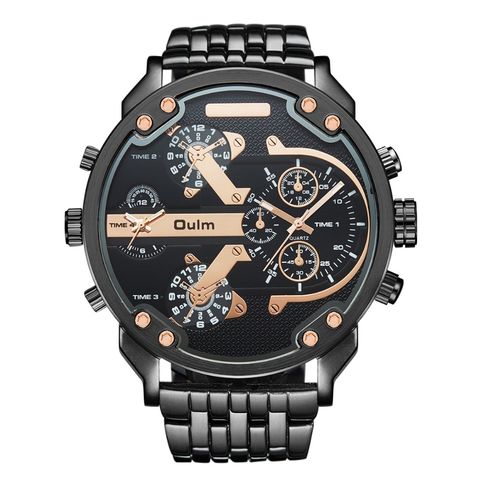 Oversized Men's Big Watch Luxury Brand Famous Unique Designer Quartz Watch Male Large Watches Men Oulm relogio masculino oulm mens designer watches luxury watch male quartz watch 3 small dials leather strap wristwatch relogio masculino