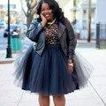 Negro Moda Mujer de Talla grande Falda de Tul Longitud de La Rodilla de Color Sólido Natural Mujer Vestidos de Bola Hinchada