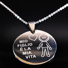 2019 Family Boy Necklace Choker For Women Mom Dad Collar Stainless Steel Chain Maxi Necklaces Jewelry Anime collane donna N7633B