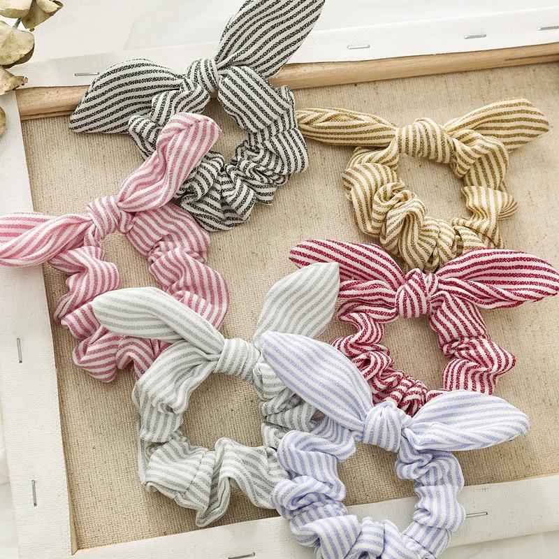 New Rabbit Ears Hair Rope Dot Stripe Grid Fabric Hair Accessories For Women Elastic Hair Bands Girls Elegant Ponytail Hair