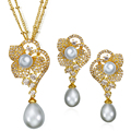 Ladies Jewelry Set Gold Filled With Simulated pearl & Cubic Zirconia Earrings/Chain Pendant Necklace Jewelry Sets for Women