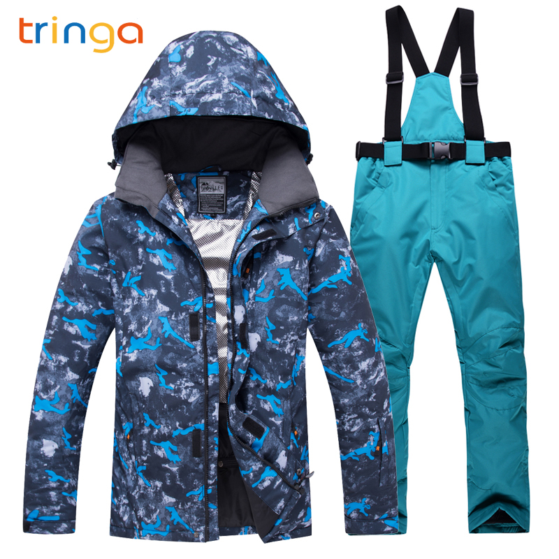 TRINGA Brands New Winter Ski suit Men High Quality Ski Jacket Pants Snow Warm Waterproof Windproof Skiing And Snowboarding Suits men ski suit new brands windproof waterproof warm thicken ski jacket and snow pants sets winter skiing and snowboarding suits