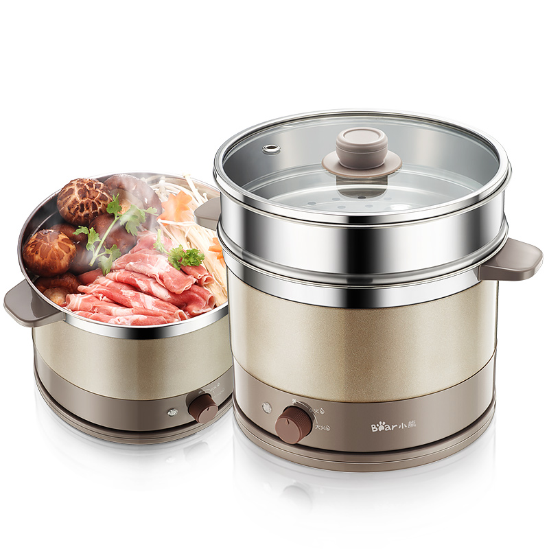 Bear Multifunction Household Electric Skillet Mini Dormitory Hot Pot Cooking Cooker DRG-C18A1 drg c12k1 multi function electric hot pot electric skillet stainless steel multi cooker houshold mini cooker portable hot pot