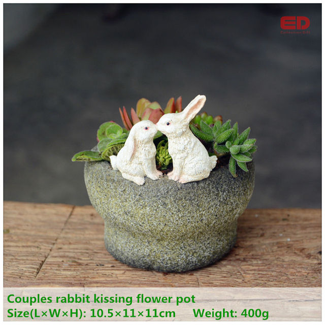 Everyday collection fairy garden terrarium easter bunny rabbits everyday collection fairy garden terrarium easter bunny rabbits kissing flowerpot for succulents outdoor valentines day gifts negle Images