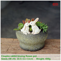 Everyday Collection fairy garden terrarium Easter bunny rabbits kissing flowerpot for succulents outdoor Valentine's Day Gifts