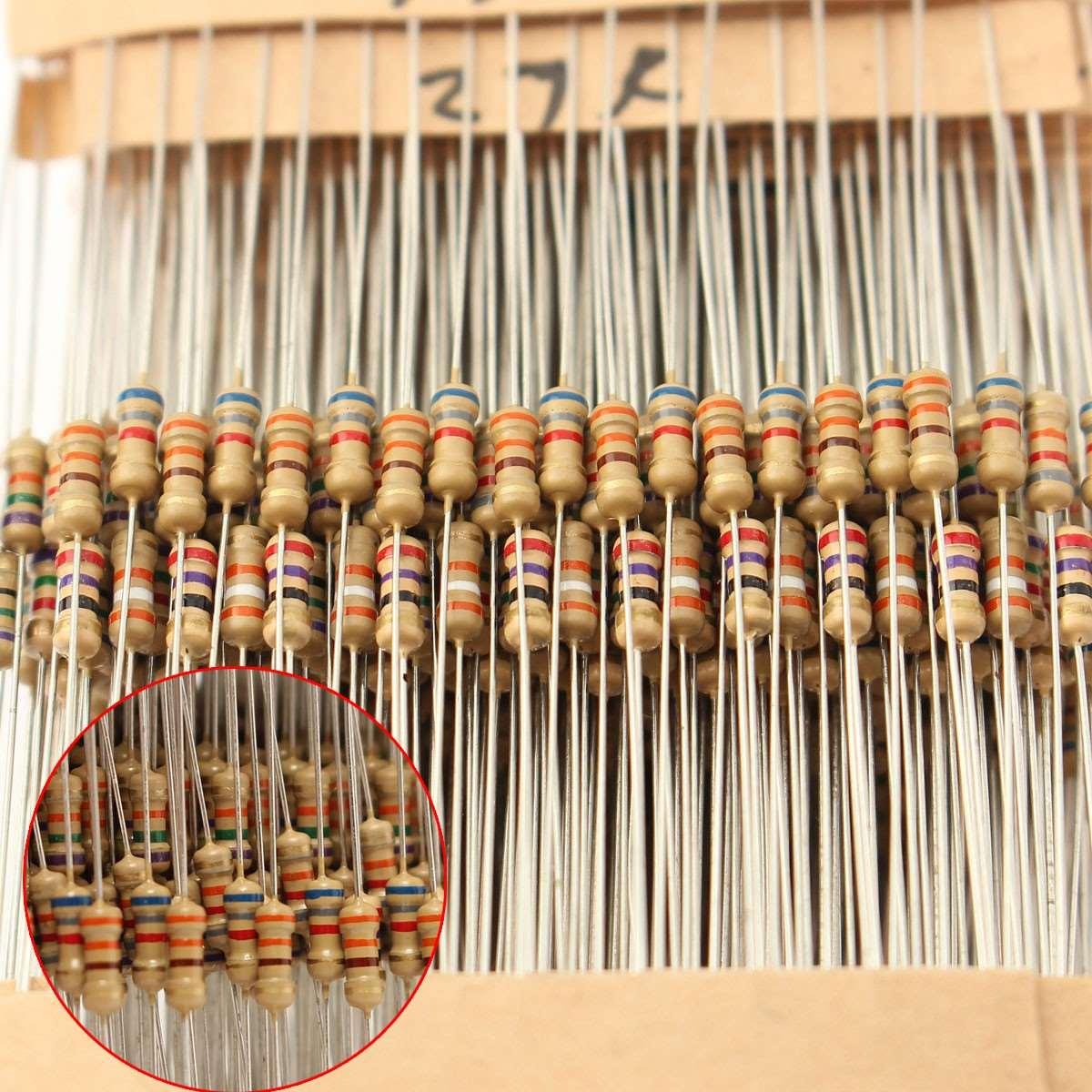 New Aiirval 560Pcs=56Valuesx10Pcs 1/4W Power Metal Film Resistors Assorted Kit 1 Ohm ~ 10M Ohm 1% Tolerance Resistor Set