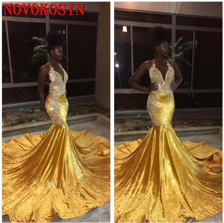 2019 Black Girls Halter Mermaid Gold Long Prom Dresses Lace Applique Backless Sweep Train Formal Party Evening Dresses in Evening Dresses from Weddings Events