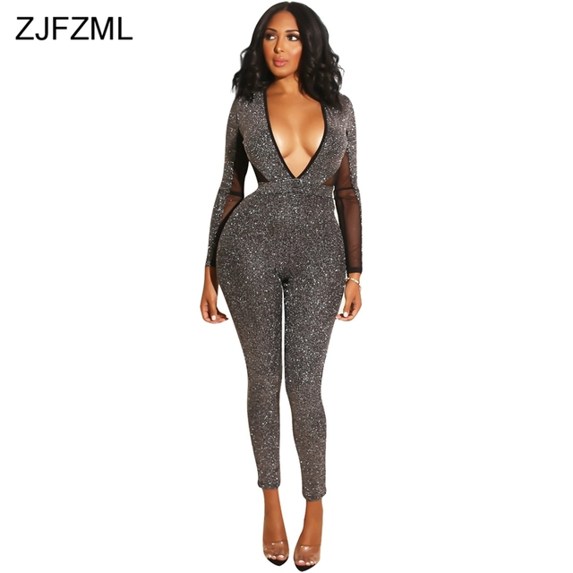 ac804e1aae4e ZJFZML Silver Grey Sparkly Sexy Bodycon Bodysuit Women Mesh Patchwork Long  Sleeve Club Jumpsuit Deep V