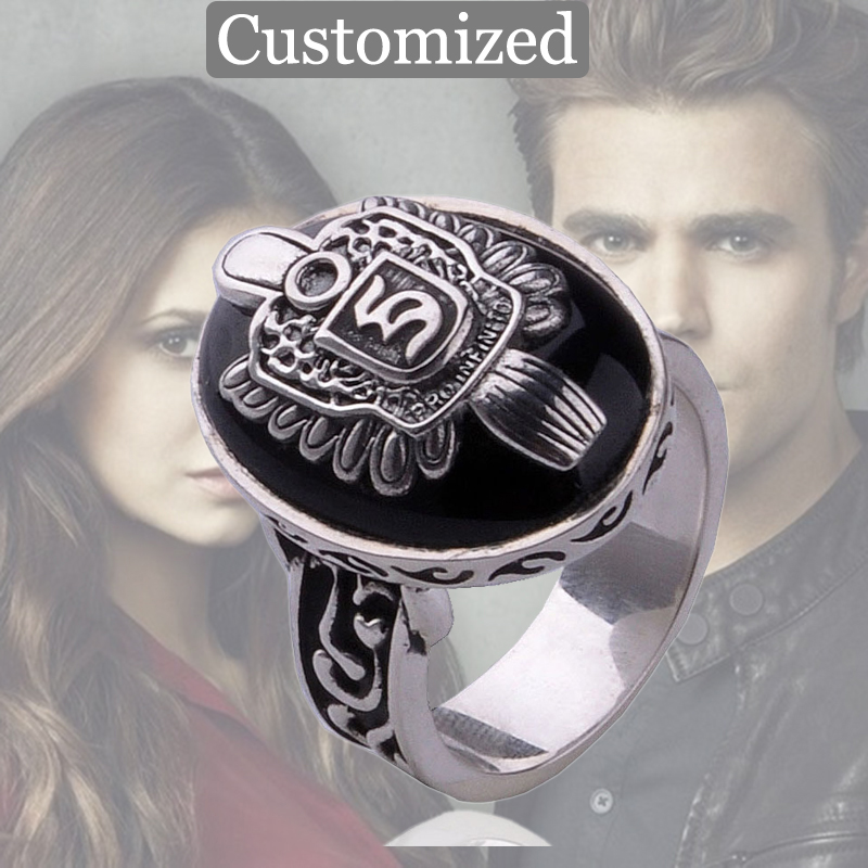 Customized The Vampire Diaries Stefan Ring A to Z Damon Salvatore Sun Protectation Antique Silver Ring for Men Punk Ring Jewelry