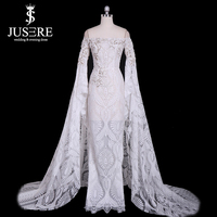 Jusere Free Shipping Elegant Beautiful Lace Embroidery Column Wedding Dress Vestidos de noiva Robe de mariage bride Long Sleeves