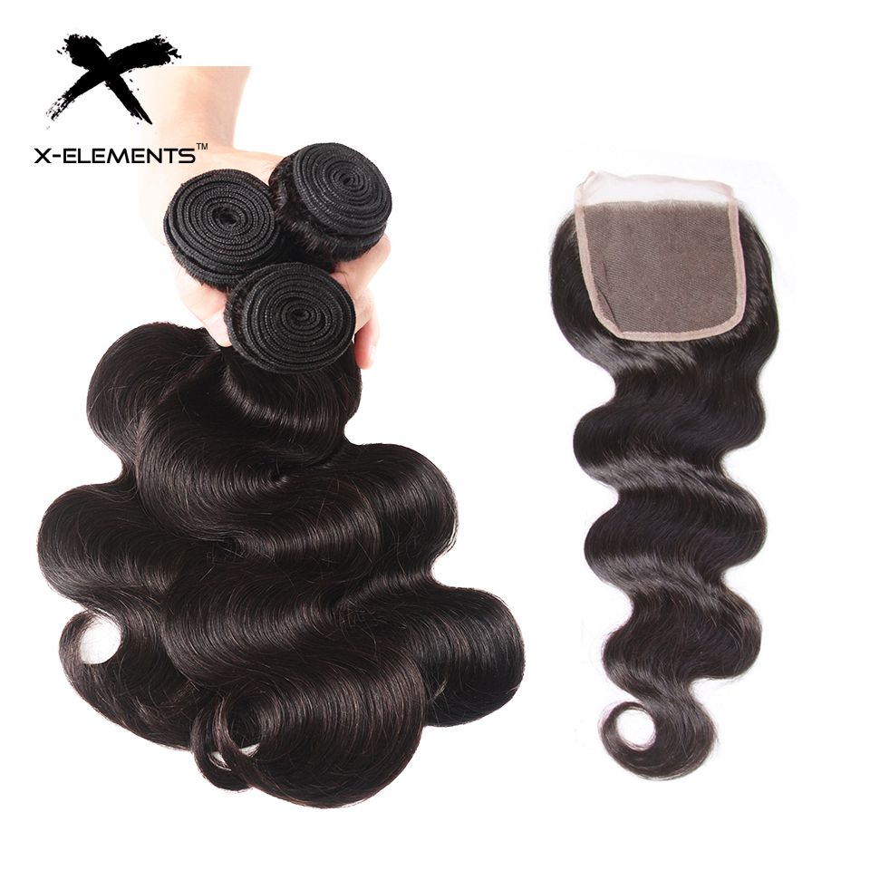 X Elements Body Wave Bundles With Closure Brazilian Hair Weave Bundles With Closure Human Hair Bundles With Closure Remy Hair-in 3/4 Bundles with Closure from Hair Extensions & Wigs    1