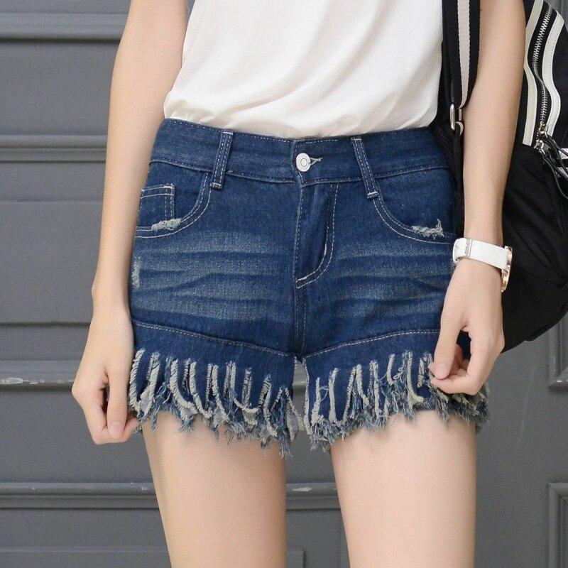 2016 new female summer thin black and white worn blue denim shorts flash lady brand shorts Casual Retro Women Short Jeans Z2186