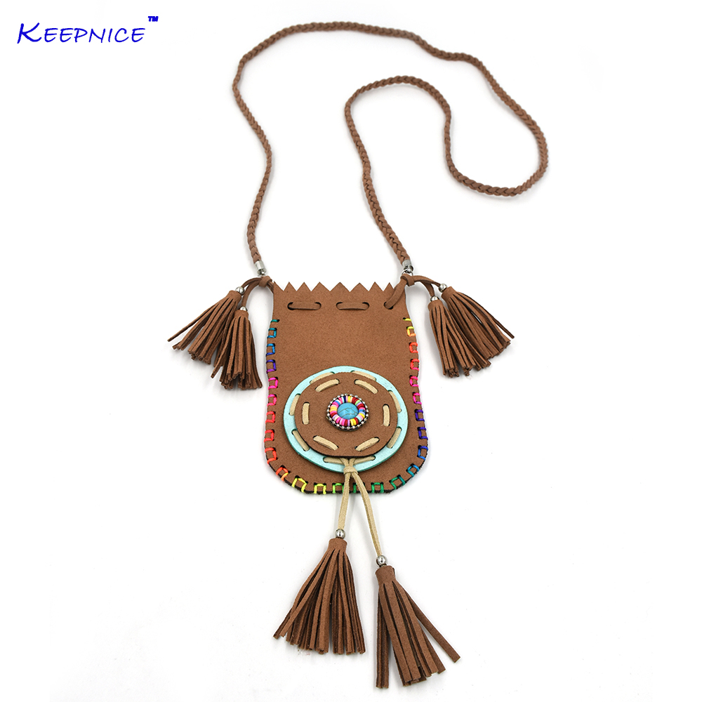 New Handmade leather tassel charm Gypsy Ethnic small leather bag pendents necklace for women