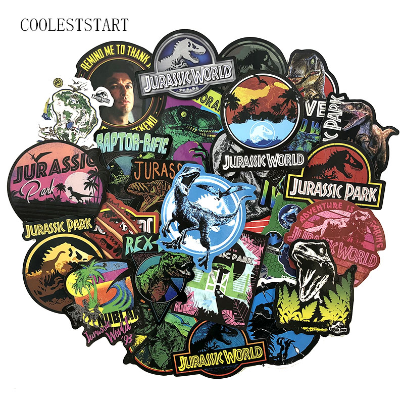 37-75 Pcs/pack Classic Movies Jurassic Park Stickers For Laptop Luggage Motorcycle Skateboard Luggage Science Fiction Stickers
